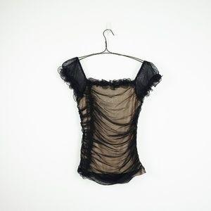 Tops - Black nude  mesh off the shoulder top